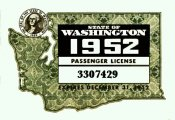 1952 Washington registration inspection Sticker