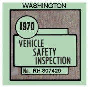 1970 Washinton INSPECTION Sticker