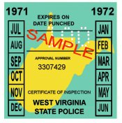 1971-72 West Virginia INSPECTION Sticker