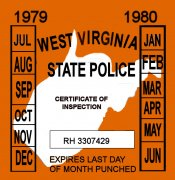 1979-80 West Virginia INSPECTION Sticker