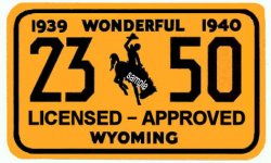 1939-1940 Wyoming Inspection Registration sticker