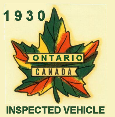 1930 Ontario inspection Sticker CANADA