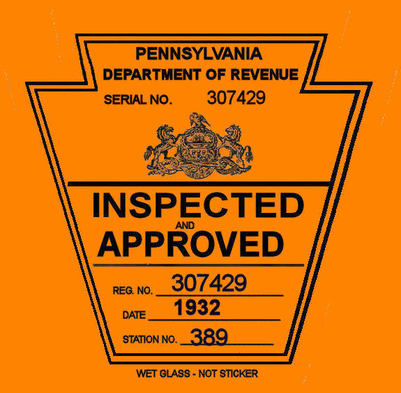 1932 Pennsylvania INSPECTION Sticker
