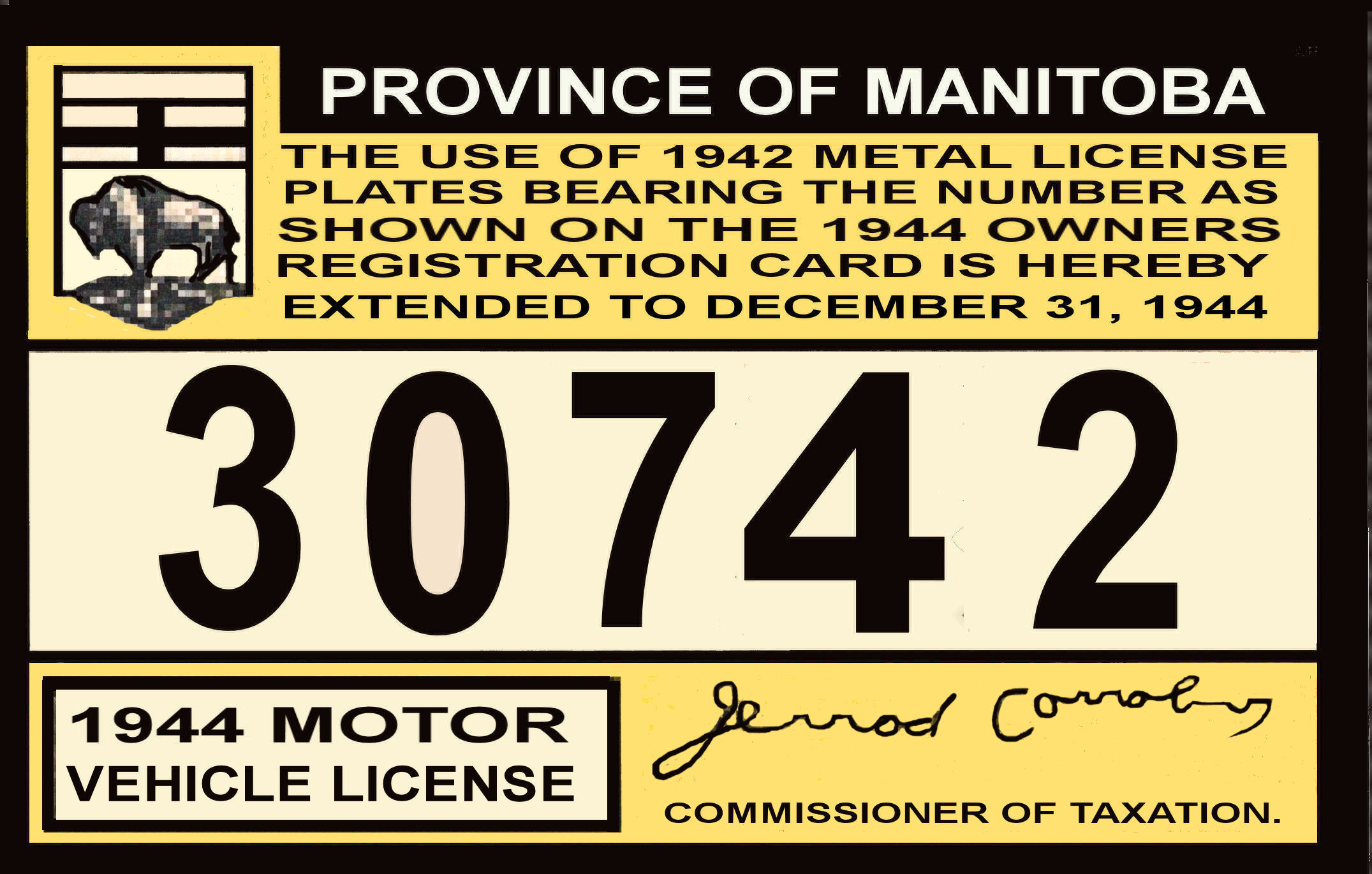 1943-44 Manitoba Registration sticker