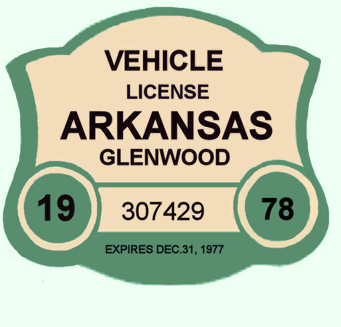 1978 Arkansas Registration sticker GLENWOOD