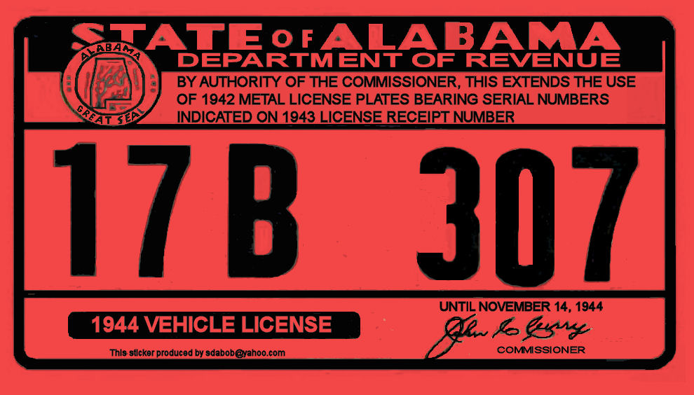 1944 Alabama registration sticker
