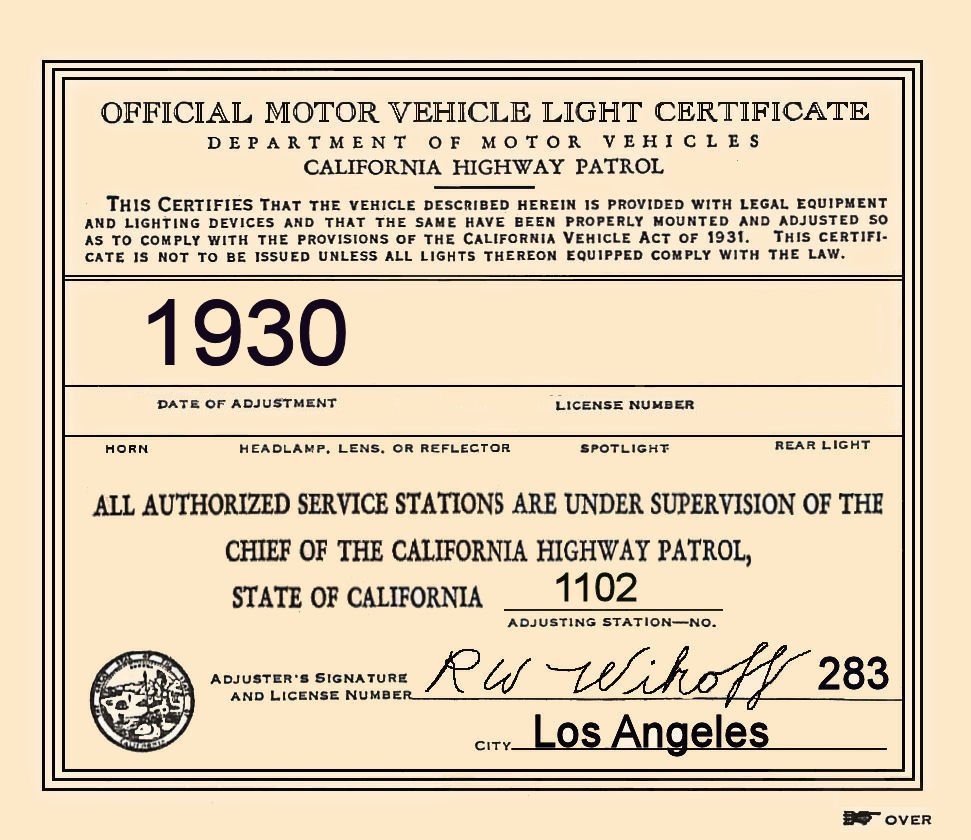 1930 California Inspection Sticker