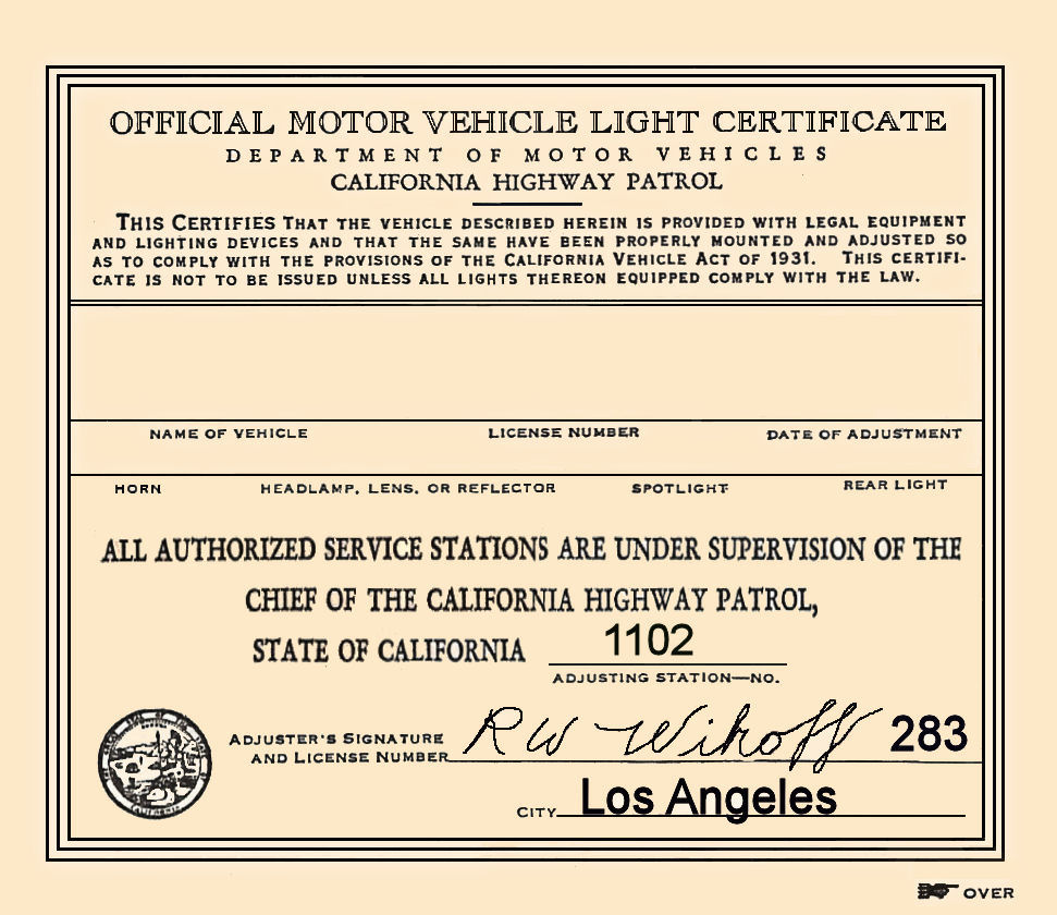 1931 California Inspection Sticker