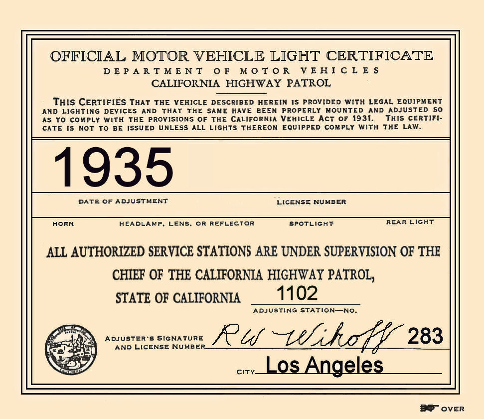 1935 California Inspection Sticker