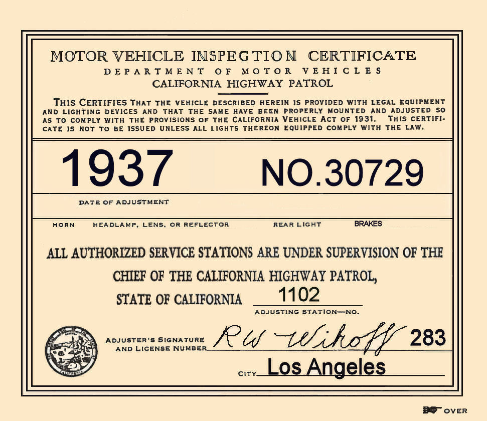1937 California Inspection sticker