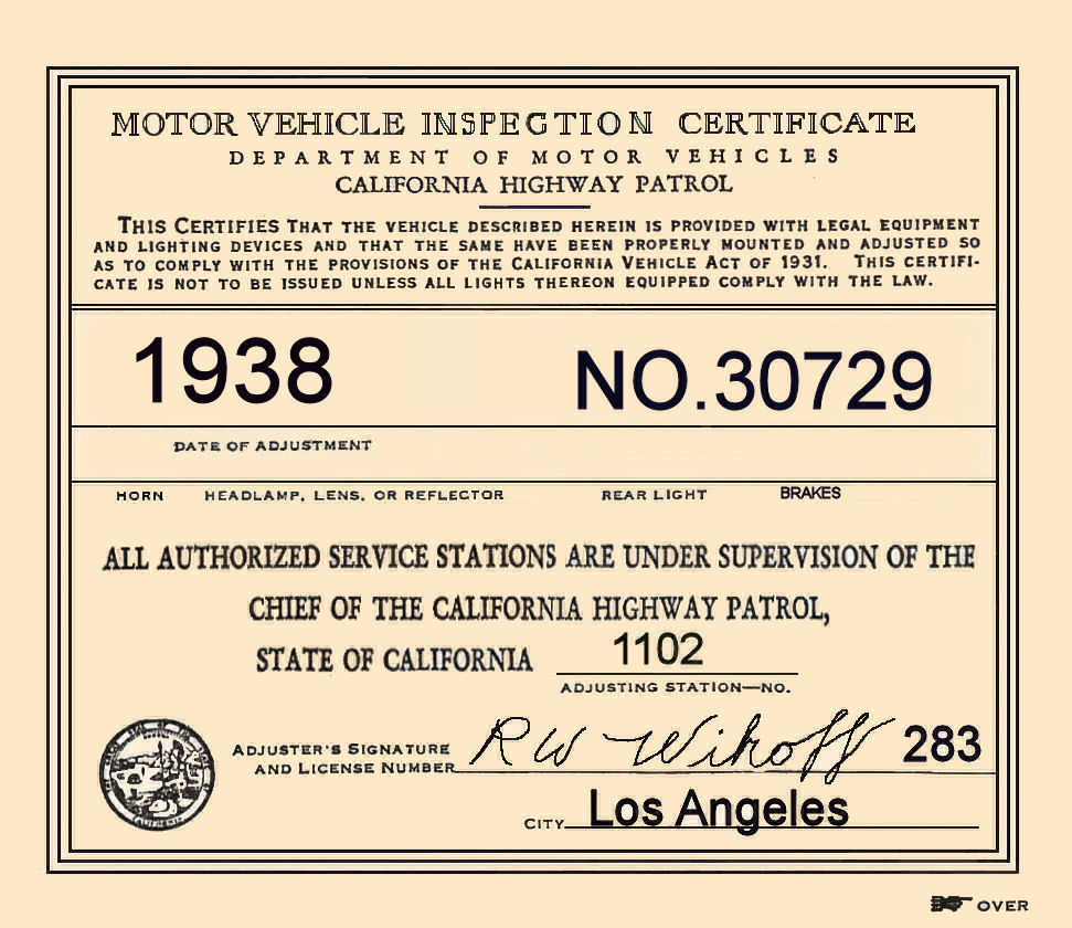1938 California Inspection sticker