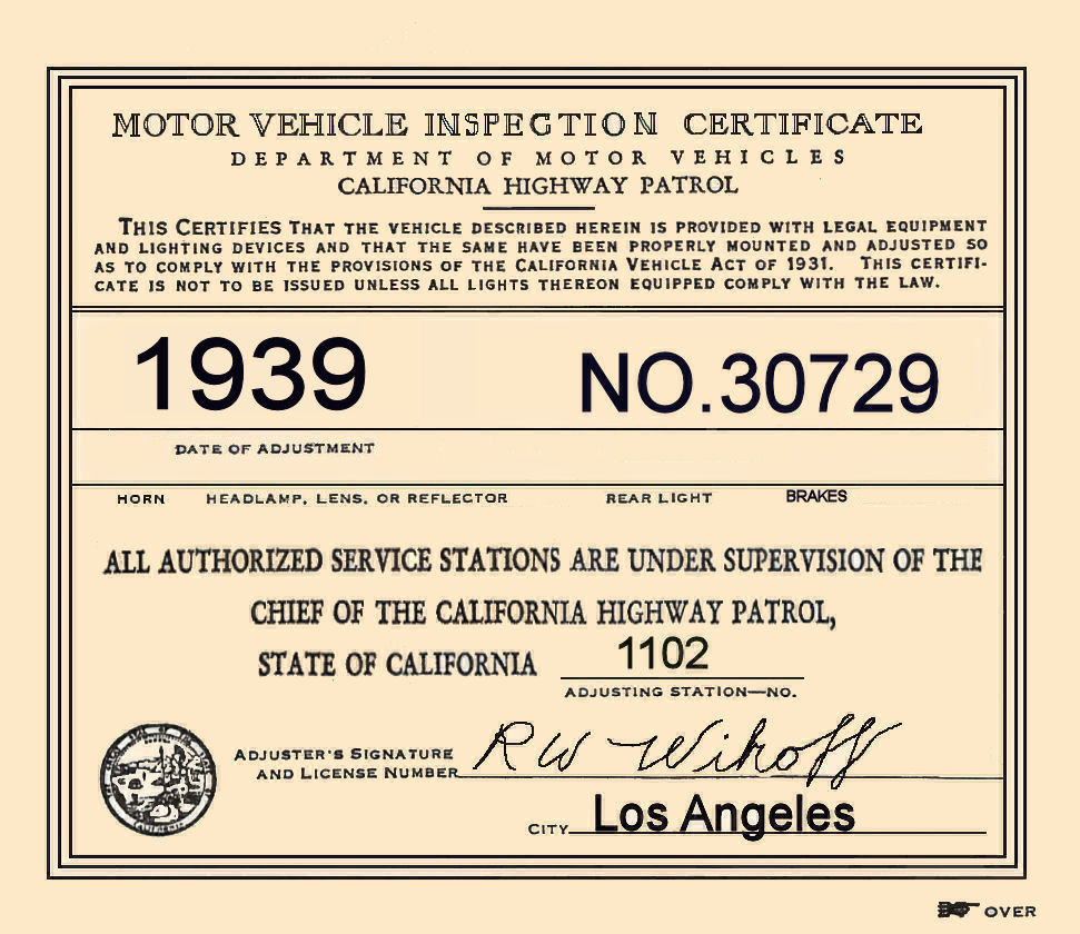 1939 California Inspection sticker