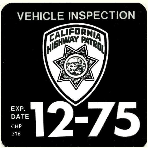 1975-12 California Inspection Sticker