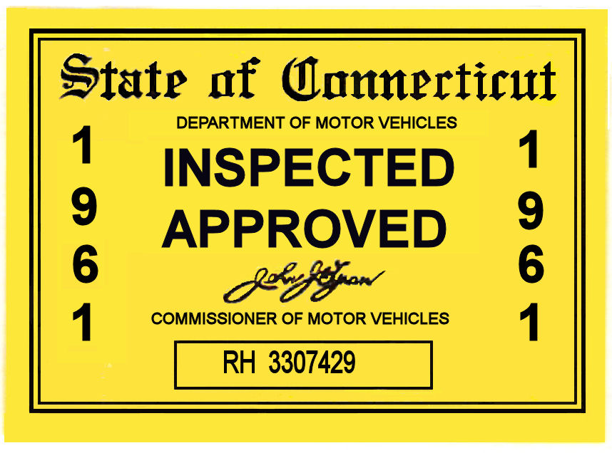 1961 Connecticut Inspection sticker
