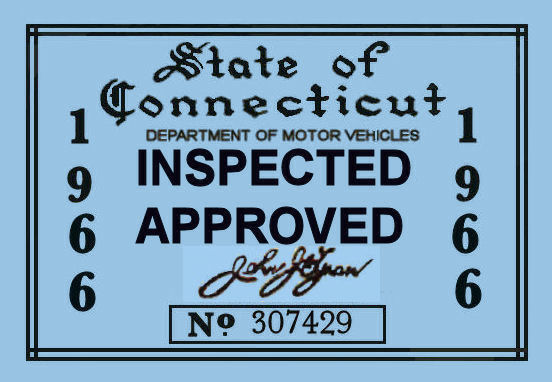 1966 Connecticut Inspection sticker