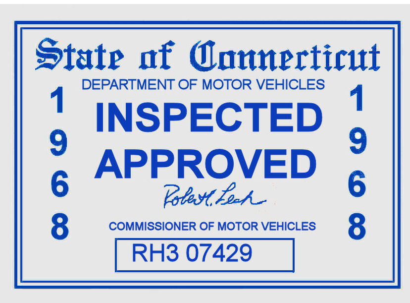 1968 Connecticut inspection sticker