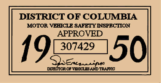 1950 District Of Columbia inspection sticker