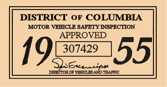 1955 DC Inspection sticker