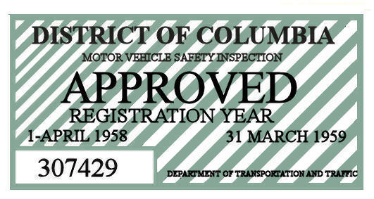 1958 District of Columbia Inspection Sticker