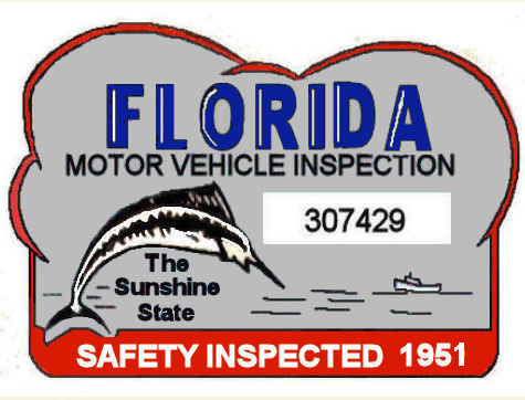 1951 Florida safety Check inspection sticker