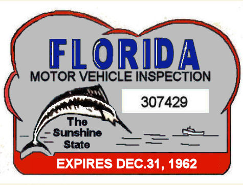 1962 Florida Safety Check inspection sticker