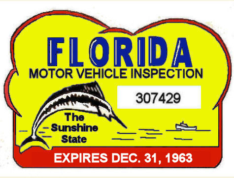 1963 Florida Safety Check Inspection sticker