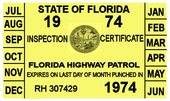1974 Florida Inspection Sticker