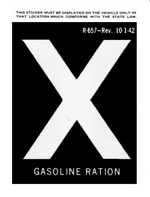 1942 Gas Ration Sticker X