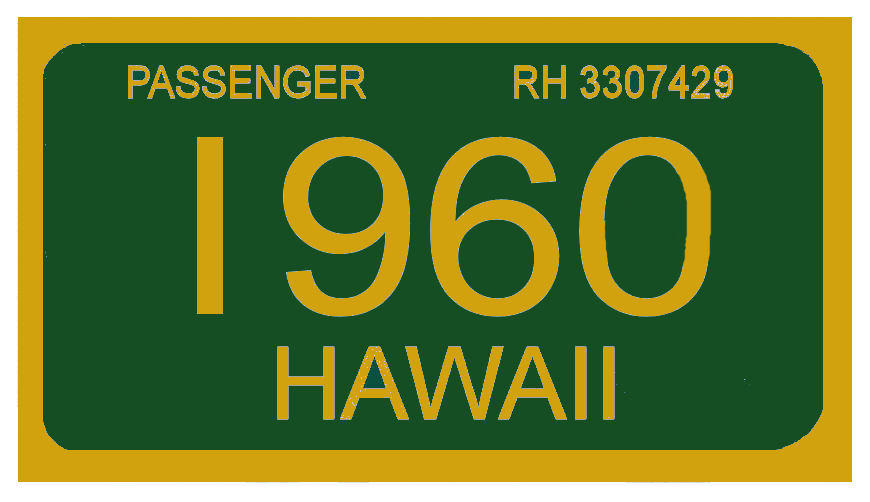 1960 Hawaii Registration Sticker