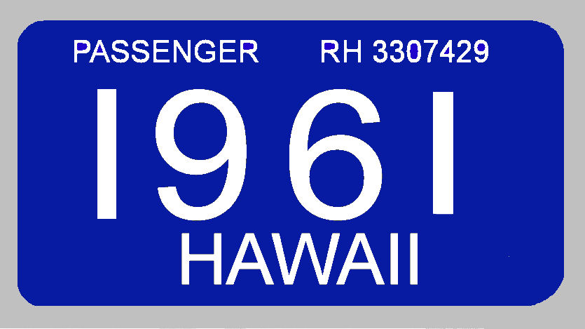 1961 Hawaii Registration sticker