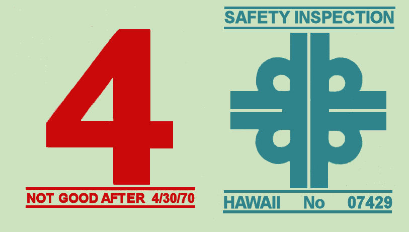 1969-70 Hawaii Inspection Sticker