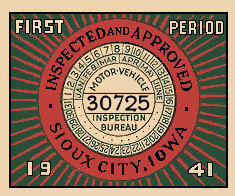 1941 Iowa Inspection sticker