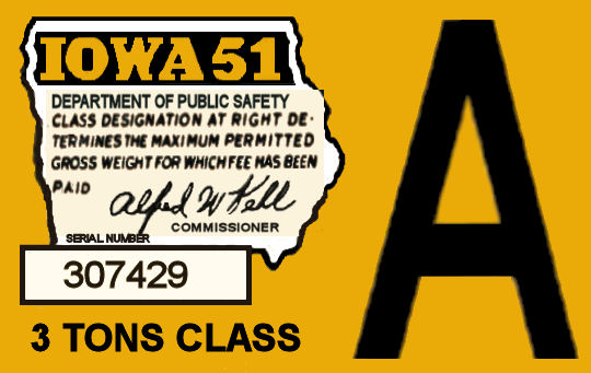 1951 Iowa Registration sticker