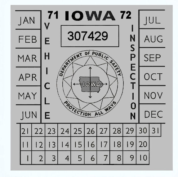 1971-72 Iowa INSPECTION Sticker