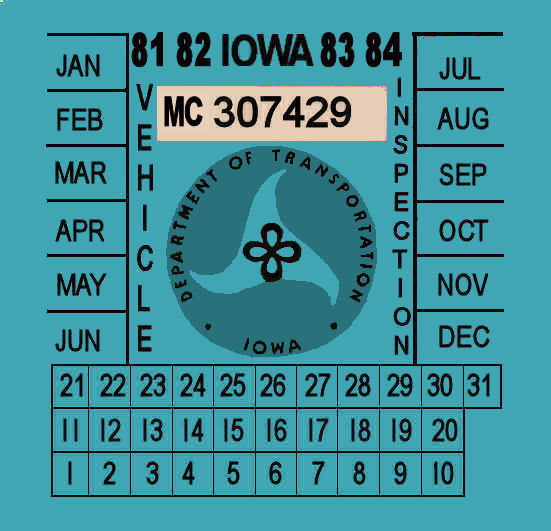 1981-84 Iowa Motorcycle Inspection sticker