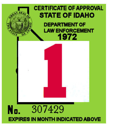 1971-72 Idaho Inspection Sticker
