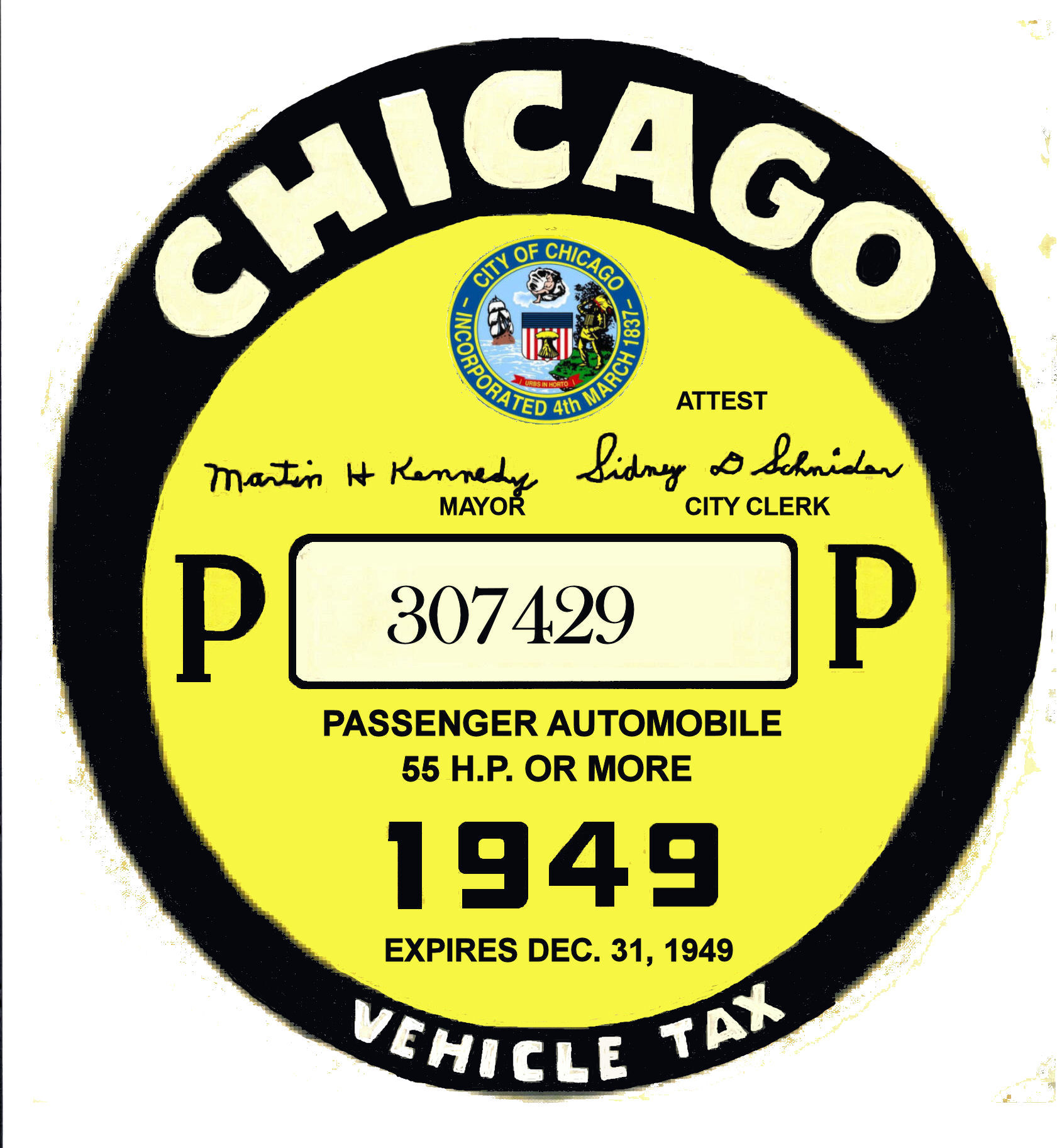 1949 Illinois tax inspection sticker CHICAGO