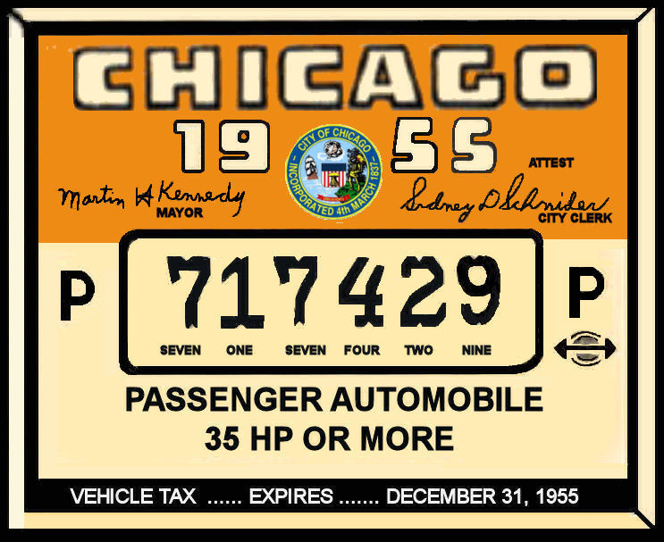 1955 Illinois Tax/Inspection sticker CHICAGO