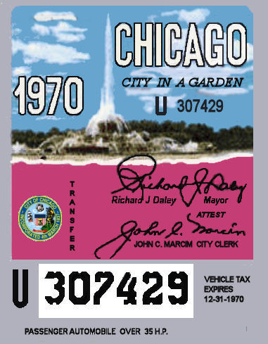 1970 Illinois tax inspection sticker CHICAGO
