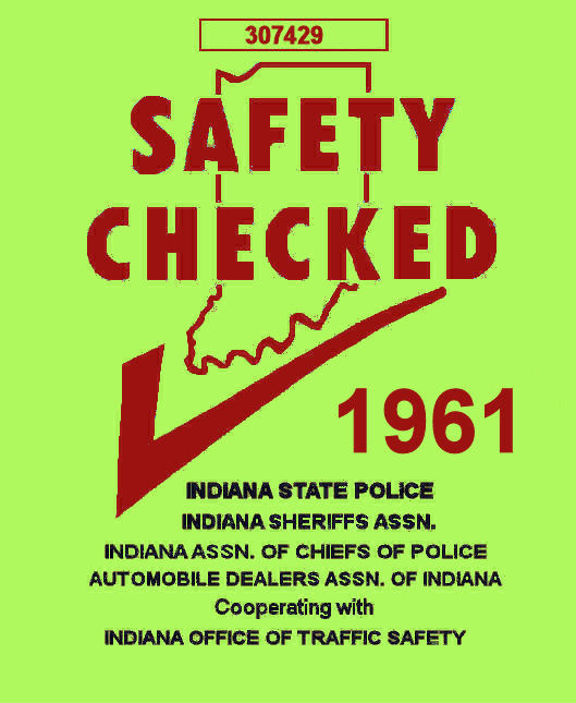 1961 Indiana Safety Check INSPECTION sticker