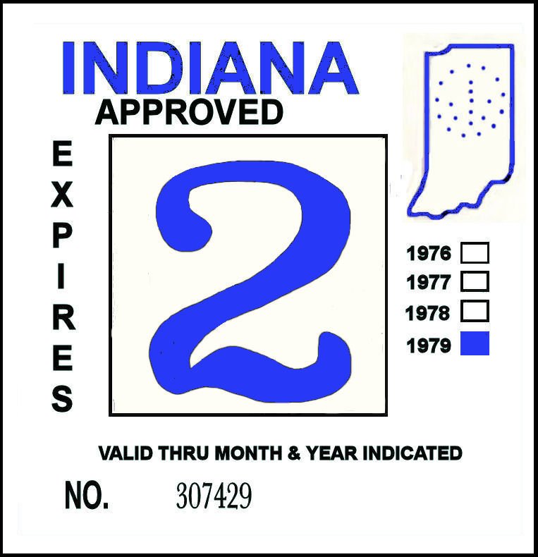 1979 Indiana Inspection Sticker Blue