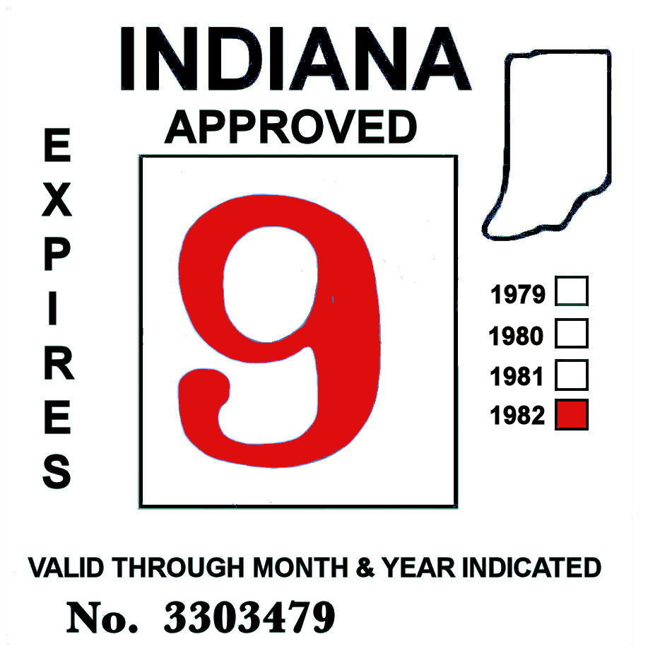 1982 Indiana Inspection Sticker RED