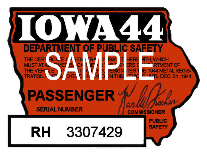 1944 Iowa REGISTRATION Sticker