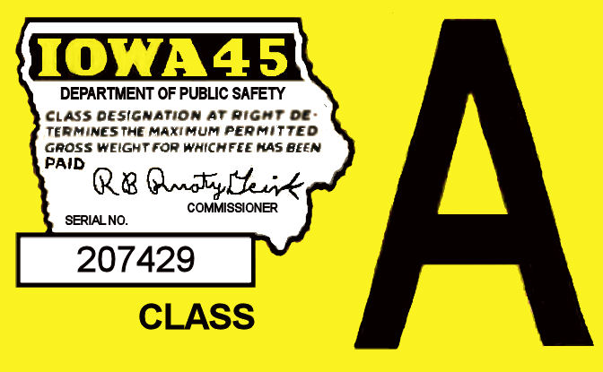1945 Iowa Registration/inspection sticker