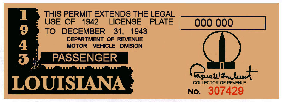 1943 Louisiana Registration sticker