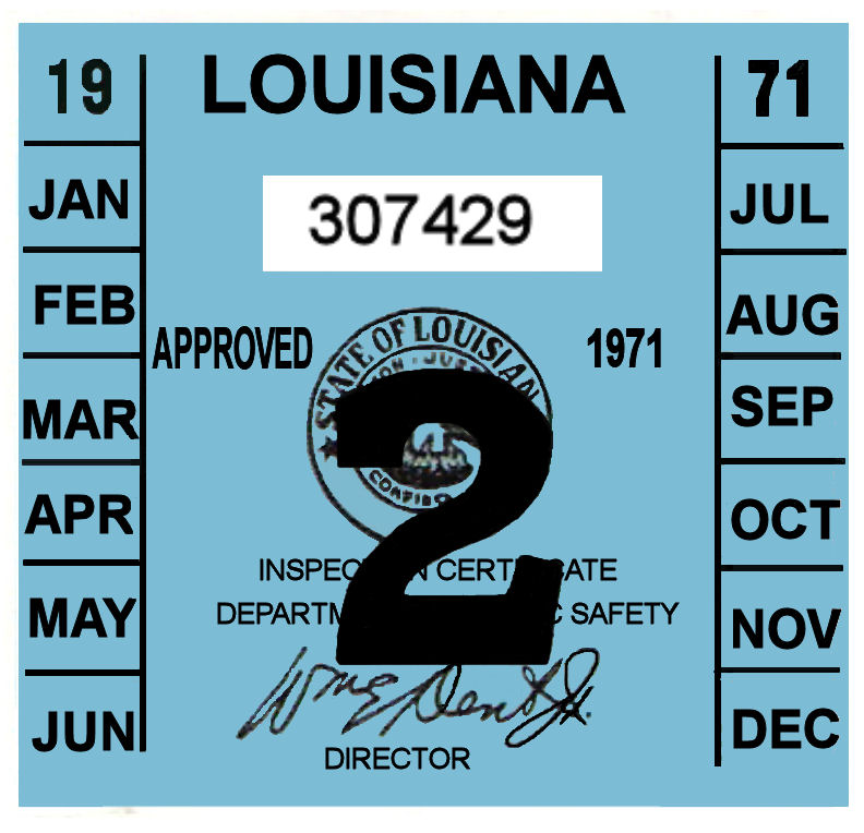 1971 Louisiana INSPECTION sticker
