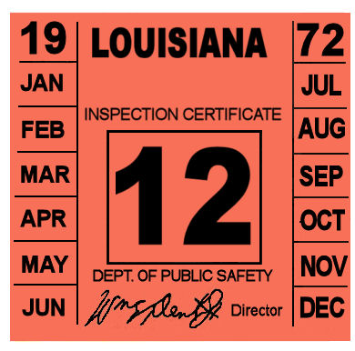 1972 Louisiana Inspection Sticker