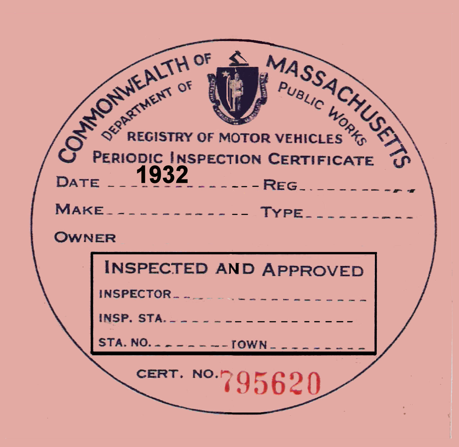 1932 Massachusetts INSPECTION sticker