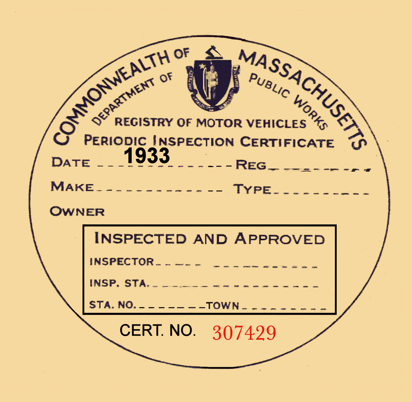 1933 Massachusetts INSPECTION sticker