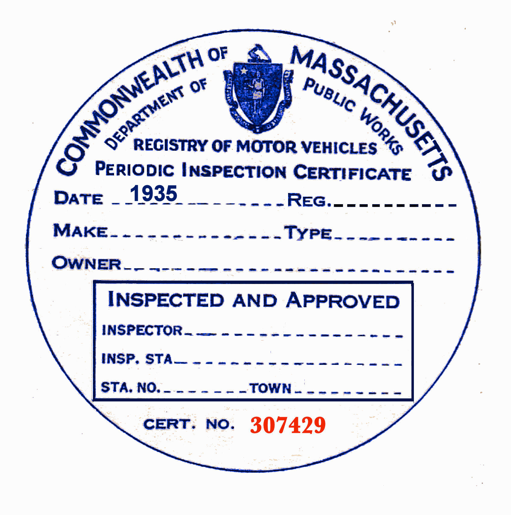 1935 Massachusetts Inspection Sticker